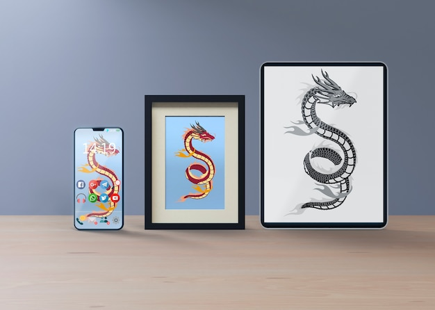 Mock-up and frame with snake sketch