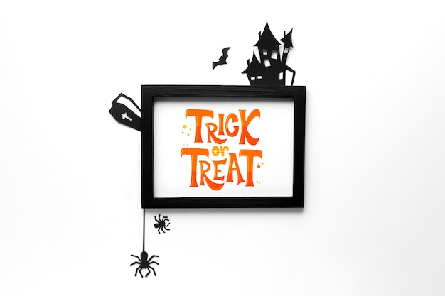 Mock-up frame with trick or treat message