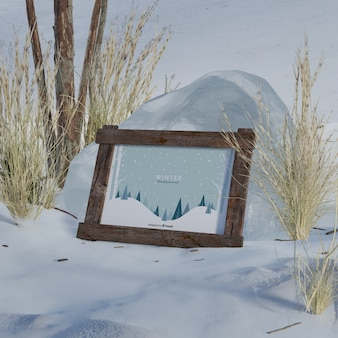 Mock-up frame with winter picture