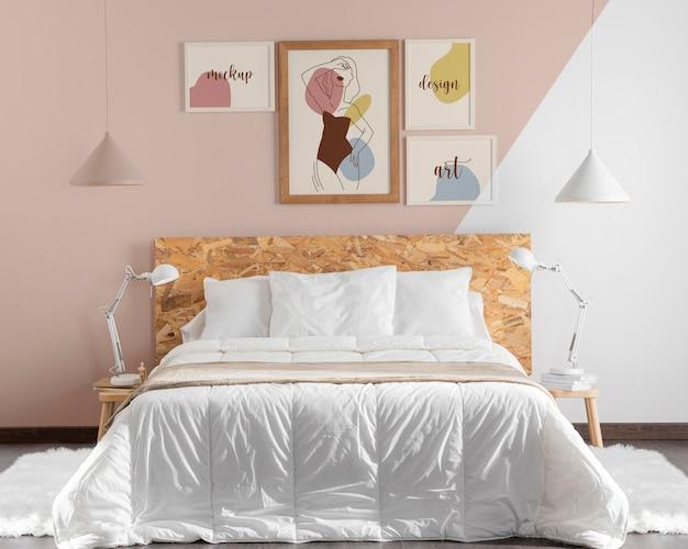 Mock-up frames arrangement in bedroom