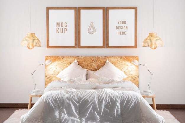 침실의 목업 프레임 배열