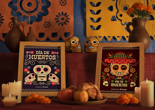 Mock-up frames for dia de muertos event on table