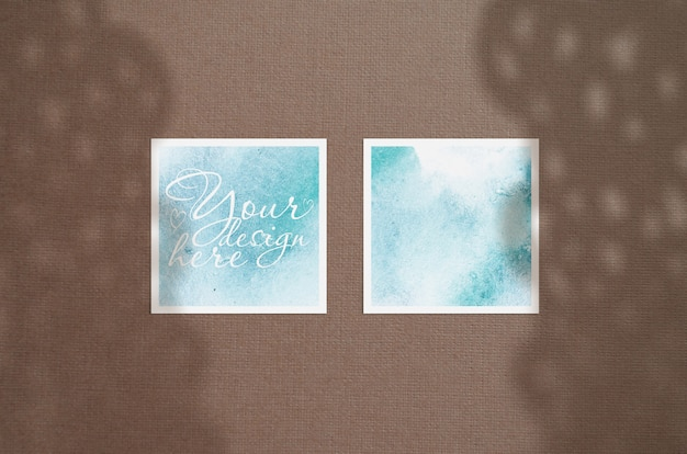 Mock up of greeting cards with shadows