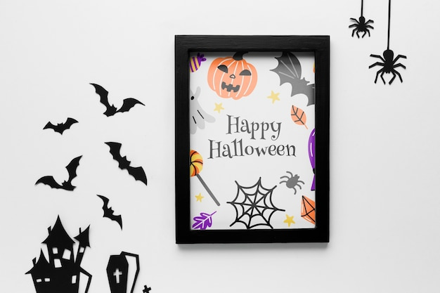 Mock-up halloween frame and decorations