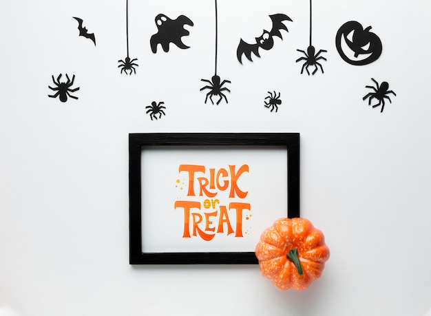 Mock-up halloween frame with trick or treat