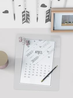 Mock up of hand drawn calendar