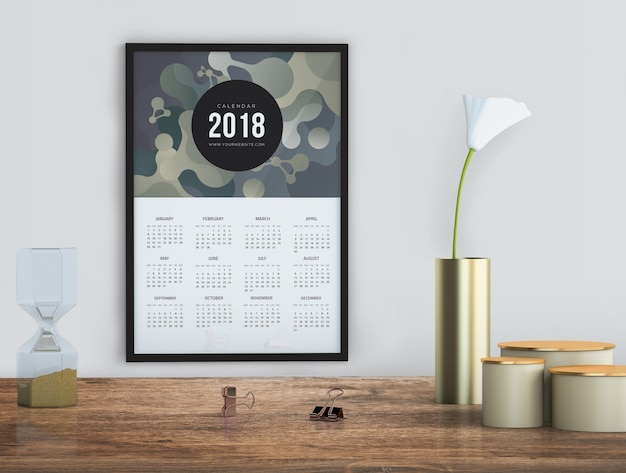 Mock up of hand drawn calendar