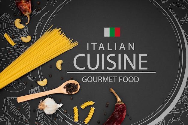 이탈리아 음식을위한 목업 재료