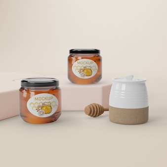 Mock-up jars on table with honey