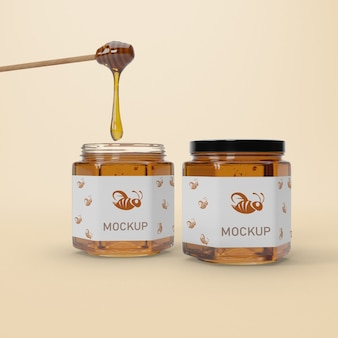Mock-up jars with honey on table