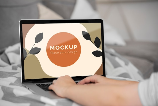 Mock up laptop in bedroom
