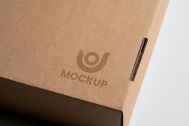Mock-up logo design on cardbox