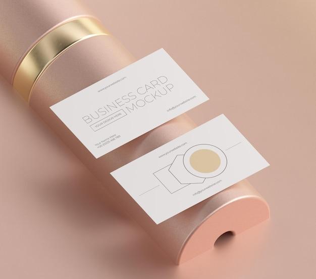 Mock-up of metallic levitating copper business card