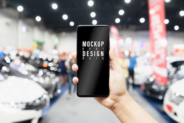 Mock up mobile phone car shopping online