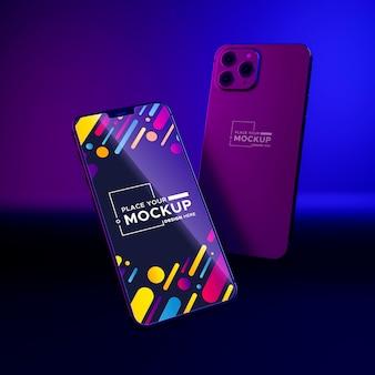 Mock-up di nuovi telefoni pack vetrina