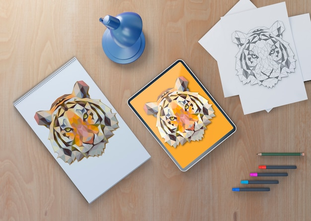 Mock-up notebook and tablet with tiger draw