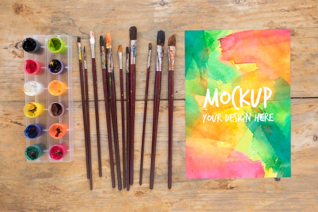 Mock-up painting brush collection and watercolors