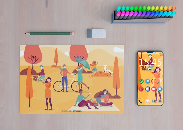 Mock-up phone with colorful draw