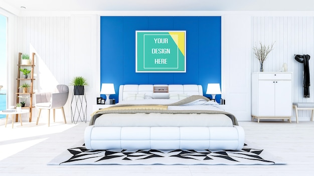 Mock up photo frame on bedroom wall