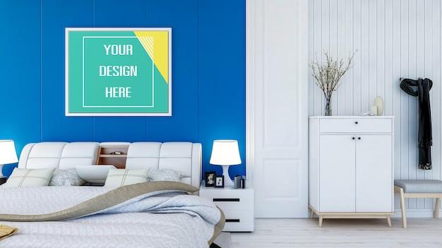 寝室の壁にフォトフレームをモックアップ