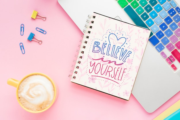 Mock-up positive message on notebook