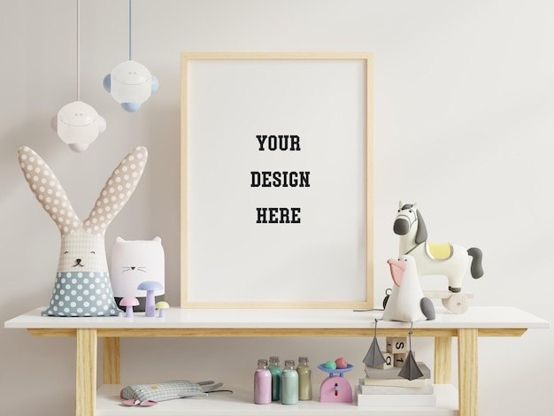 Mock up poster in child room interior with toys