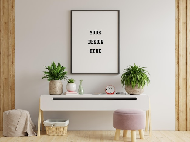 Mock up poster frame on cabinet in interior.3d rendering