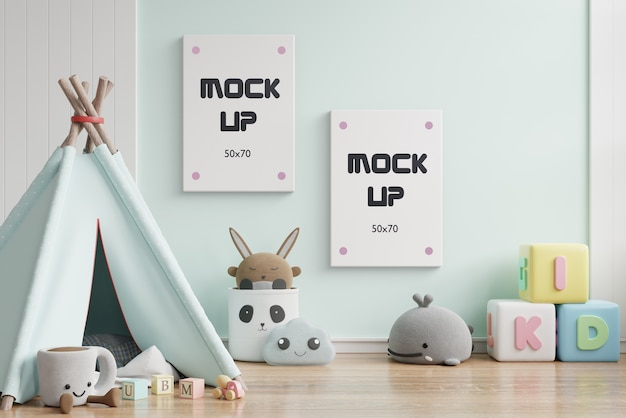 Mock up poster frame in children room 3d rendering