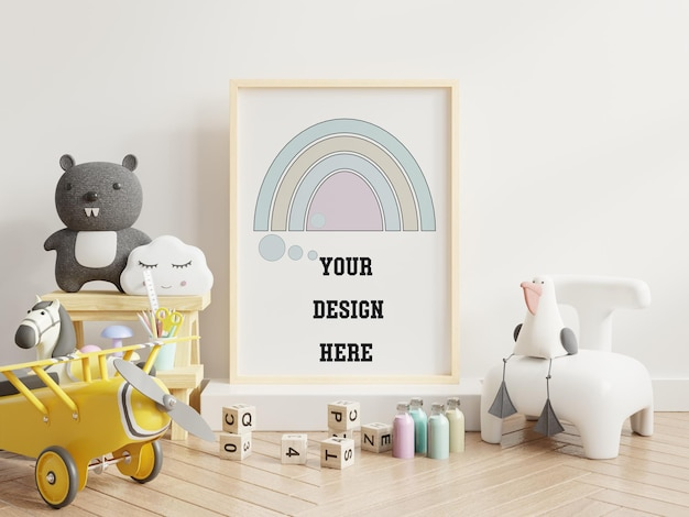 Mock up frame poster in camera dei bambini, rendering 3d