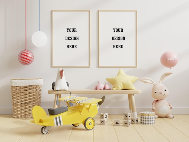 Mock up poster frame in children room,kids room