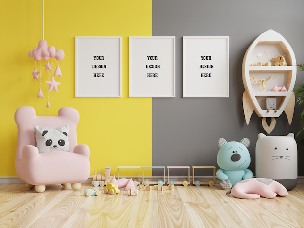 Mock up poster frame in children room on yellow illuminating and ultimate gray wall background.3d rendering
