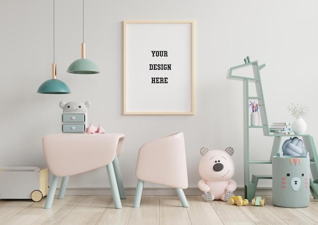 Mock up poster frame in children room