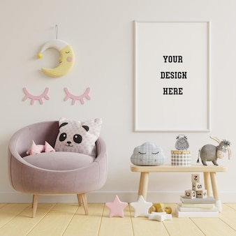 Mock up poster frame in children room