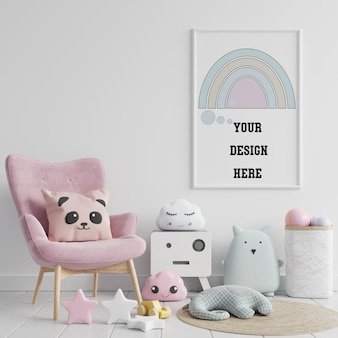 Mock up poster frame in children's room ,3d rendering