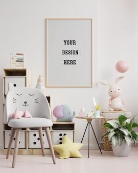 Макет рамки плаката в детской комнате, детской комнате, детском макете, 3d-рендеринге