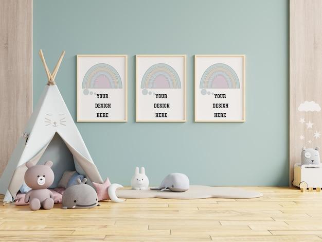子供部屋、子供部屋、保育園のモックアップ、3dレンダリングでポスターフレームをモックアップ