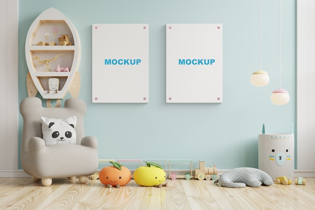 子供部屋、子供部屋、保育園のモックアップ、青い壁、3dレンダリングでポスターフレームをモックアップ