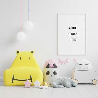 Макет рамки плаката в детской, детской, детской, белой стене, 3d-рендеринге