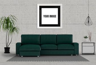 Mock up poster frame in hipster interior modern living room