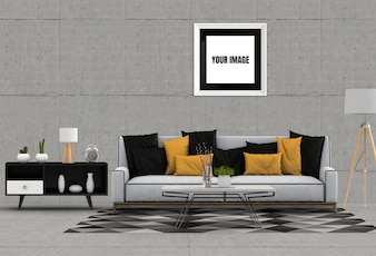 Mock up poster frame in hipster interior modern living room
