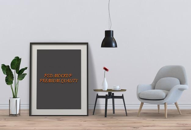 インテリアリビングルームと椅子、3dレンダリングのポスターフレームをモックアップ