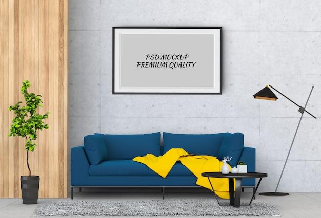 インテリアのリビングルームとソファ、3 dのレンダリングでポスターフレームをモックアップします。