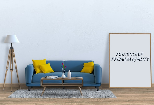 インテリアリビングルームとソファのポスターフレームのモックアップします。