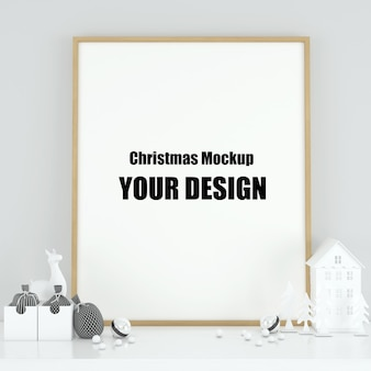 인테리어 스칸디나비아 크리스마스와 겨울 장식에서 포스터 프레임을 모의