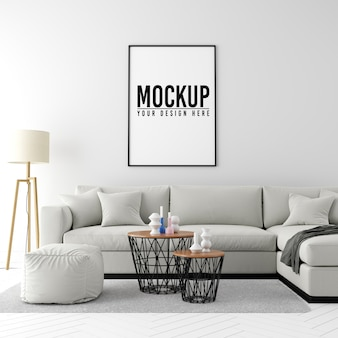 Mock up poster frame interior background with furniture and decoration