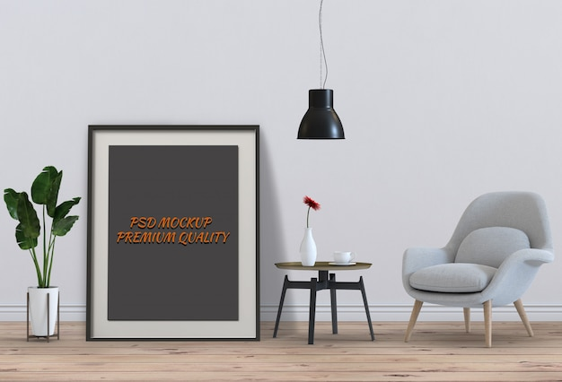 Mock up poster frame in interior living room and chair, 3d render