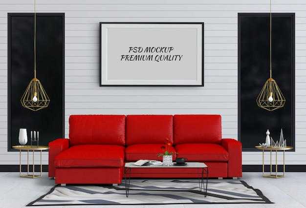 Mock up poster frame in interior living room and sofa, 3d render