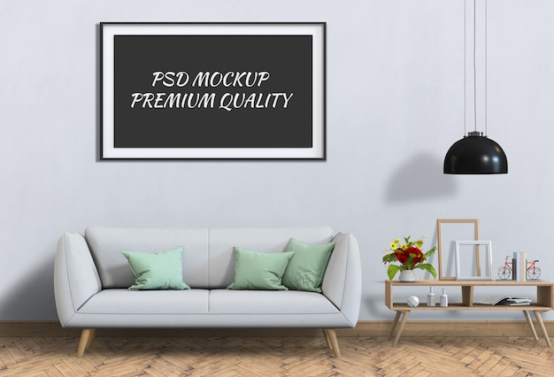 Mock up poster frame in interior living room and sofa