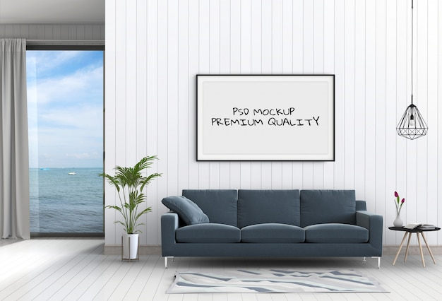 Mock up poster frame in interior room , 3d render