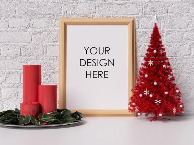 Макет стенного каркаса с рождественским украшением